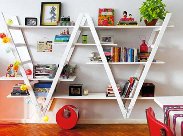 bookshelf-made-from-ladders